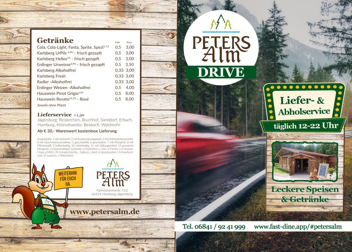 Lieferkarte Speisekarte PETERS Alm