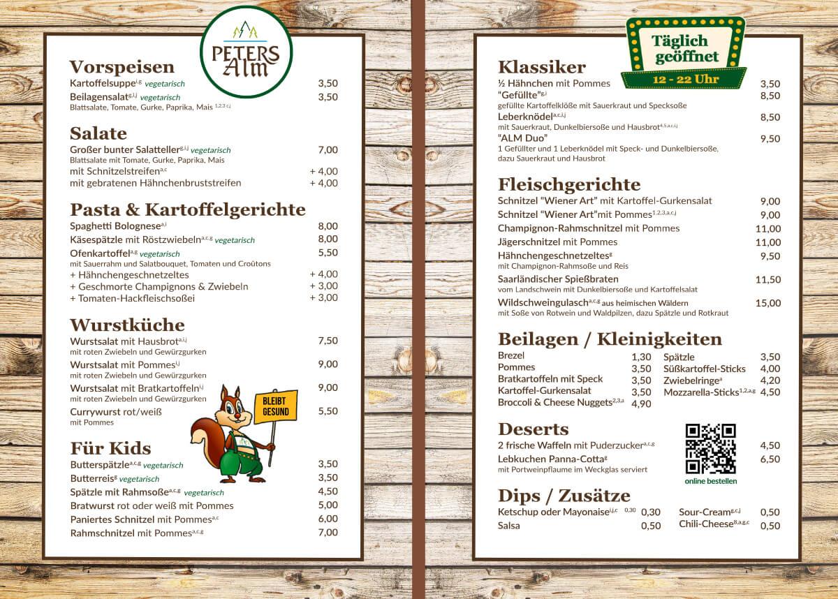 Lieferkarte Speisekarte PETERS Alm - innen